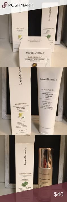 NEW Bare Minerals Skinsorials facial cleansing set NEW and UNOPENED Bare Minerals Skinsorials facial cleansing set. Includes Bare Haven moisturizer, Pure Plush cleanser, and Skinlongevity. Will sell items separately if interested. bareMinerals Makeup