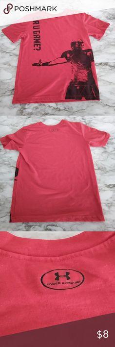 bnwt-boys short sleeve under armour shirt heatgear-size 6-white football helmet