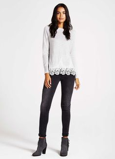 Silver Grey Lace Hem Knit | Knitwear | MintVelvet