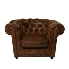 Sessel Oxford Vintage Eco - Mikrofaser Braun der Marke Kare Design, Maße: Höhe: 76 cm Breite: 115 cm Tiefe: 92 cm