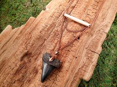 Buffalo Bone and Black Fossilized Sharks by mirabiliajewelry, $35.00
