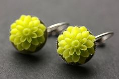 Lime Green Dahlia Flower Earrings. French Hook Earrings. Lime Green Flower Earrings. Green Earrings. Lever Back Earrings. Handmade Jewelry. by StumblingOnSainthood from Stumbling On Sainthood. Find it now at http://ift.tt/1NpJLrR!