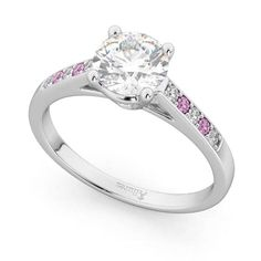 Cathedral Pink Sapphire & Diamond Engagement Ring 14k White Gold 0.20ct - U2781 Sapphire Diamond Engagement, Gold Engagement Rings, Diamond Wedding Rings, Leo Diamond, Diamond Design, Wedding Bands, Blue Rings, White Gold Rings, Saphir Rose