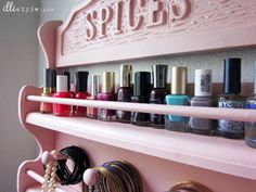 Spice Rack to Jewelry Holder DIY After nail polish - illistyle.com