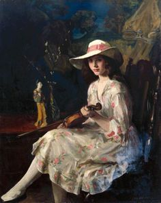 Miss Anne Harcourt (1921).George Harcourt (English, 1868-1948). Oil on canvas. Royal Academy of Arts.Harcourt portrays his daughter in a summer dress in the tradition of Reynolds and Romney.This is a painting for which Harcourt wished to be remembered, as it is included the Academy's 'diploma' collection, to which artists are required to donate on the occasion of their election to membership.