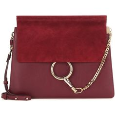 Chloé Faye Leather and Suede Shoulder Bag (50.755 CZK) ❤ liked on Polyvore featuring bags, handbags, shoulder bags, red, genuine leather shoulder bag, chloe purses, leather handbags, red leather purse and shoulder handbags