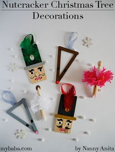The Nutcracker ballet is such an important part of Christmas for me; we have been using it as inspiration for these Nutcracker Christmas tree decorations. Craft Stick Crafts, Crafts For Kids, Arts And Crafts, Craft Ideas, Snowman Decorations, Christmas Tree Decorations, Holiday Decor, Christmas Time, Christmas Crafts