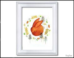 ♥Häschen ♥ Kinderbild Print von TinyTami auf DaWanda.com