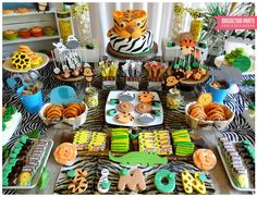 Magnetika Party By Sol Hana H's Baptism / Jungle - Photo Gallery at Catch My Party Safari Theme Birthday, Wild One Birthday Party, Safari Birthday Party, Baby Boy Birthday, Jungle Party, First Birthday Parties, Jungle Theme, Zebra Party, Baptism Party