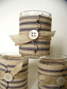 Blue & White Ticking Fabric (French Fabric), on votive holders. Nice idea for my kitchen.