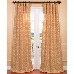 Parisian Tan Flocked Faux Silk Curtain Panel