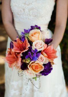 Arlington Wedding by Allison Davis Photography | Style Me Pretty, orange purple wedding, Casablanca gown