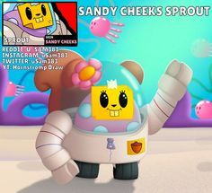 Sandy Cheeks, Star Costume, Star Character, Cartoon Art Styles, Star Wallpaper, Fan Art, Clash Royale, Art Memes, New Skin