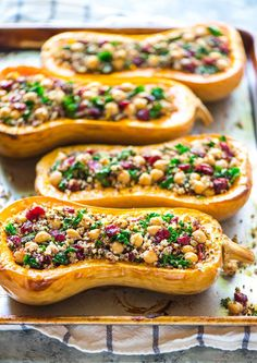 Quinoa Stuffed Butternut Squash with Cranberries and Kale.| wellplated.com @wellplated