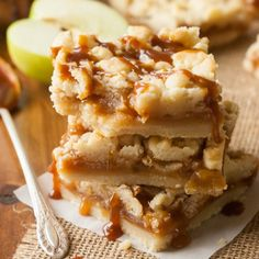 Caramel Apple Shortbread Crumble Bars.....the BEST bars I have EVER had. Period.