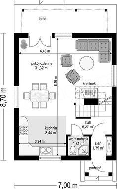 Projekt domu D03 Grześ drewniany 84,66 m2 - koszt budowy 76 tys. zł - EXTRADOM Wooden House, Planer, House Plans, Floor Plans, How To Plan, Modern Houses, Houses, Modern Homes, House Floor Plans