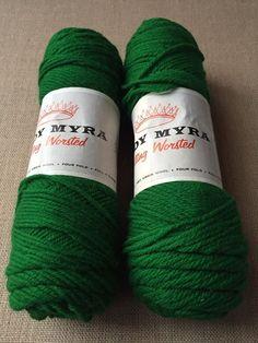 Lot of 2 Skeins Vtg Lady Myra Virgin Wool each Knit Yarn Green sld Wool Yarn, Knitting Yarn, Lady, Green, Crafts, Manualidades, Handmade Crafts, Craft, Arts And Crafts