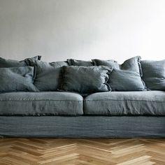 The Old Reader Denim Sofa, Living Divani, Linen Couch, Comfy Sofa, Dream Decor, Sofa Covers, Wabi Sabi, Interior Design Inspiration, Apartment Living