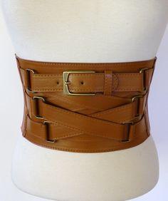 """New 6"""" Wide Criss Cross Style Buckle High Waist Corset Cincher FX Leather Belt   eBay"""