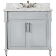 Home Decorators Collection Aberdeen 36 in. W x 22 in. D Single Bath Vanity in Dove Grey with Carrara Marble Top with White Sink 8103600270 - The Home Depot White Vanity Bathroom, Grey Bathrooms, Modern Bathroom, Small Bathroom, Bathroom Ideas, Country Bathrooms, Bath Ideas, Bathroom Updates, Bathroom Renovations