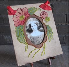 Old embroidered photo frame.