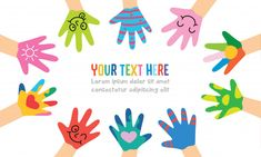 Painted Hands Of Little Children - Buy this stock vector and explore similar vectors at Adobe Stock Creative Flyer Design, Creative Flyers, Logo Mano, Little Children, Hand Logo, Vintage Logo Design, Cartoon Kids, Illustrations, Classroom Decor
