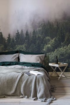 Misty forest wallpaper for master bedrooms   www.masterbedroomideas.eu    #luxuryfurniture #exclusivedesign #interiodesign #designideas #masterbedroom #masterbedroomideas #wallpaper #wallpaperdesign
