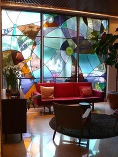 Wow!  Love that modern stained glass window!