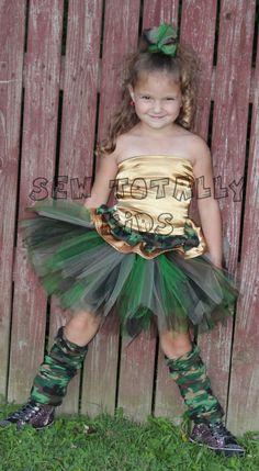 Boutique Camo Cutie Army Princess tutu outfit by sewtotallykids, $50.00