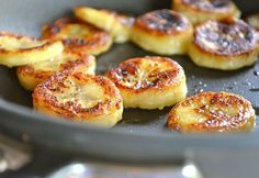 """""""Fried"""" Honey Banana from Rachel Schultz, could also be sliced in half and use coconut oil. 1 tbs honey, mix with 1 tbs water. Heat bananas 1 minute, add mixture, sprinkle with cinnamon."""