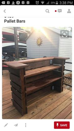 Pallet bar. Most efficient use, looks like two paver pallets, wood shelves, wood bar top.