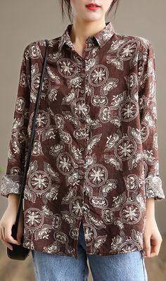 Handmade Lapel Button Down Spring Clothes Wardrobes Chocolate Print Tops Spring Clothes, Spring Outfits, Linen Blouse, Wardrobes, Long Sleeve Tops, Autumn Tops, Linen Tops, Tunic Tops, Plus Size