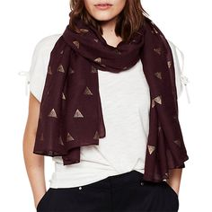 cbba93612b2d Buy Mint Velvet Geo Fan Foiled Scarf