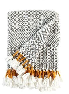 Rivet Modern Boho Hand Woven Stripe Fringe Throw Blanket in Charcoal, Gray, Cream and Mustard. Dream Blanket, Boho Throw Blanket, Throw Blankets, Woven Blankets, Meme Design, Manta Crochet, My New Room, Handmade Home, Textile Art