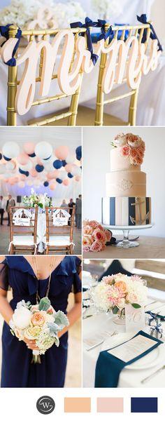 light peach and navy blue wedding color ideas for 2017