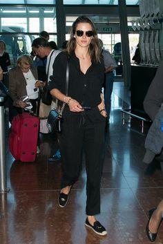 Alessandra Ambrosio's airport fashion.