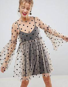 ASOS | ASOS Sheer Smock Mini Dress in Spot Mesh