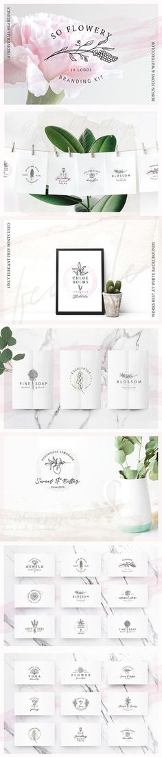 So Flowery Branding Kit+Watercolours by AgataCreate on @creativemarket
