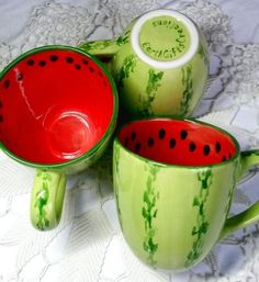 Watermelon mug Large colorful coffee mugs watermelon gift | Etsy Cute Coffee Mugs, Cute Mugs, Coffee Cups, Watermelon Fruit Bowls, Strawberry Fruit, Fruit Cups, Pottery Painting, Ceramic Painting, Ceramic Art