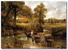 """The Haywain by John Constable witch was finished in 1821. It reflects a rural scene on the River Stour between the English counties of Suffolk and Essex. At the moment is in in the National Gallery in London and is called """"Constable's most famous image"""" and one of the greatest and most popular English paintings."""