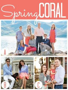 What to wear for family photos: Coral, grey and blue Large Family Pictures, Spring Family Pictures, Family Pictures What To Wear, Fall Family Photo Outfits, Beach Family Photos, Family Pics, Beach Pics, Family Photography, Newborn Photography