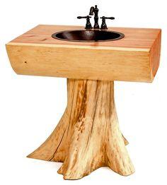 Tree Vanity, Stump Log Pedestal Sink, Solid Wooden Slabs | Woodland Creek Furniture