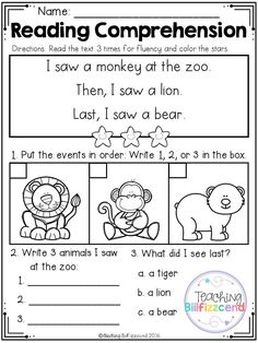 Reading and writing. FREE Sequencing Reading Comprehension For Beginning Readers Set 3 Reading Comprehension Worksheets, Reading Fluency, Reading Passages, Reading Skills, Teaching Reading, Sequencing Worksheets, Guided Reading, Reading Activities, Free Reading