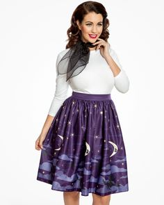 'Pryia' Witching Hour Print Swing Skirt | Vintage Inspired Fashion | Lindy Bop