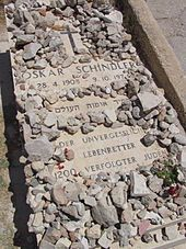 "Oskar Schindler - Schindler's grave in Jerusalem. The Hebrew inscription reads: ""Righteous Among the Nations""; the German inscription reads: ""The Unforgettable Lifesaver of 1200 Persecuted Jews""."