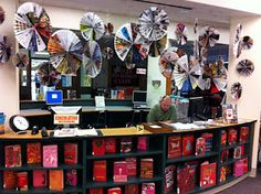 J. Crew inspired book display for February in our school library. Made out of accordion pleated magazines.
