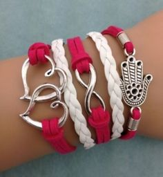 Silver Infinity Bracelet~Double Hearts ~  Leather Bracelet NEW FREE SHIPPING!!!!