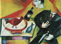 The Drunkard Marc Chagall 1911-12  Marc Chagall was born in Vitebsk, Belarus, in 1887 to a poor Hasidic family. The eldest of nine children, Marc Chagall studied first in a Jewish religious school before moving to a secular Russian school, where he began to display his artistic talent. With his mother's support, and despite his father's disapproval, Chagall pursued his interest in art, going to St. Petersburg in 1907 to study art with Leon Bakst. Influenced by contemporary Russian painting,