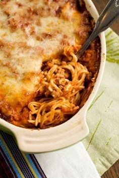 Paula Deens Baked Spaghetti, better than regular spaghetti. We make and eat no other spaghetti any more. Yummy!