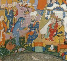 Mevlana ve su canavarı. Sevakıb-ı Menakıb. (Topkapı sarayı müzesi)